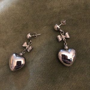 Cute hanging bow and heart earrings from the 1980s